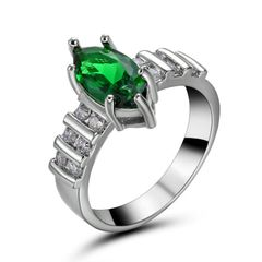 10kt White Gold Filled Bright Green Cubic Zirconia Ring Size 6.5