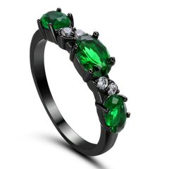 10kt Black Gold Filled Bright Green Cubic Zirconia Oval Ring Size 7.5 & 8.5