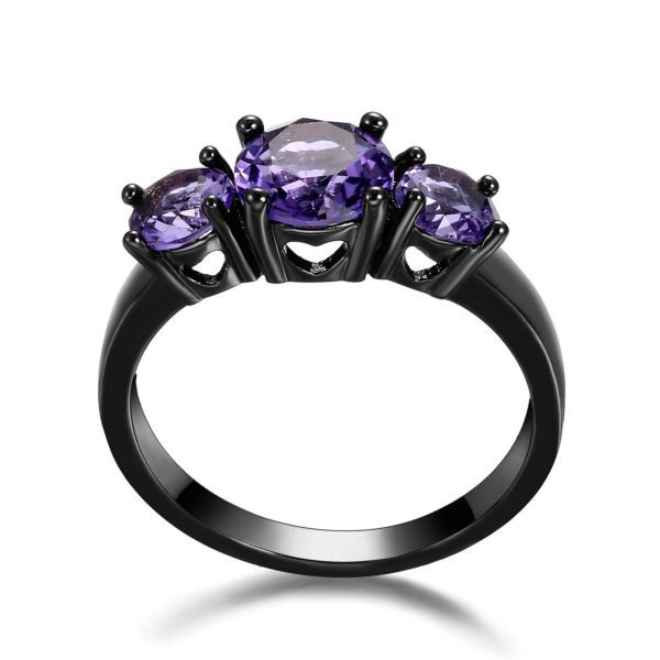 10kt Black Gold Filled Bright Purple Cubic Zirconia Ring Size 7.5 & 8.5