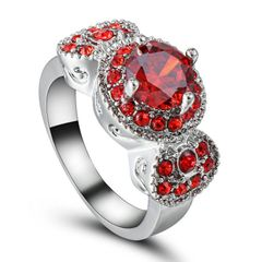 10kt White Gold Filled Bright Red Round Cubic Zirconia Ring Size 6