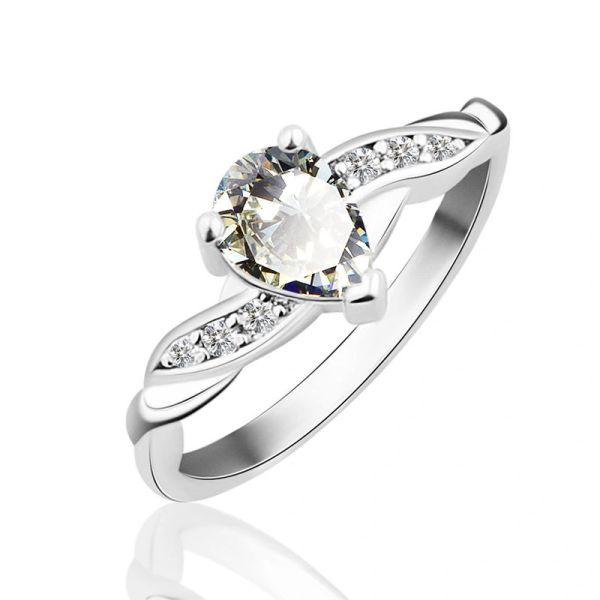 10kt White Gold Filled Pear Bright White Cubic Zirconia Ring Size 8