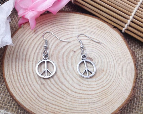 Cute Pair of Peace Sign Dangle Earrings (Pierced)