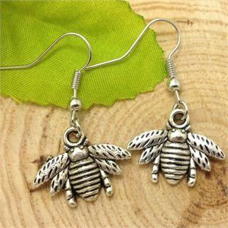 Cute Pair of Honey Bee Dangle Earrings (Pierced)