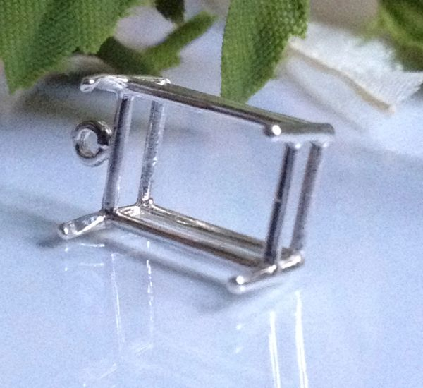 Sterling Silver Octagon Wire Pre-Notched Dangle Pendant Setting (7x5-25x18mm)