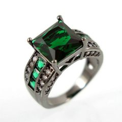 10kt Black Gold Filled Bright Green Cubic Zirconia Square Ring Size 7