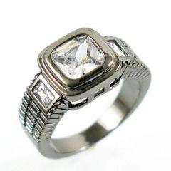 10kt Black Gold Filled Vintage White Cubic Zirconia Ring Size 6