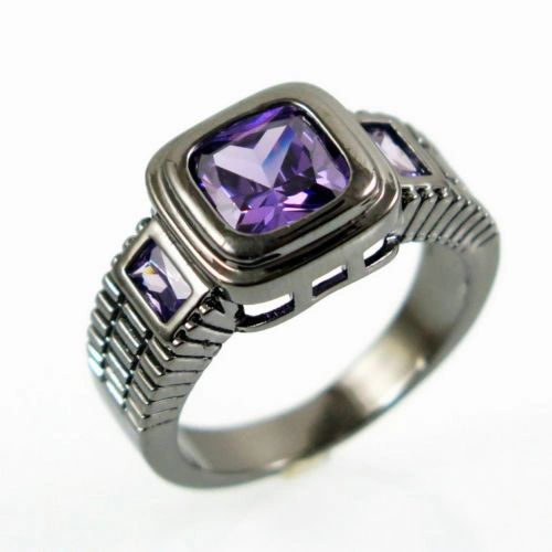 10kt Black Gold Filled Bright Purple Cubic Zirconia Ring Size 6