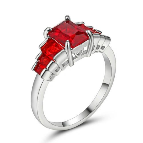 10kt White Gold Filled Bright Red Octagon Cubic Zirconia Ring Size 6.5