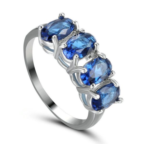 10kt White Gold Filled Bright Sapphire Blue Cubic Zirconia Ring Size 6.5