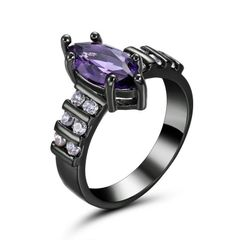 10kt Black Gold Filled Bright Purple Marquise Cubic Zirconia Ring Size 6.5
