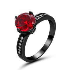 10kt Black Gold Filled Bright Red Round Cubic Zirconia Ring Size 5.5