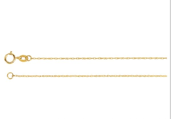 """18"""" 1mm Wide Yellow Gold Filled Rope Chain With Spring Ring Clasp"""