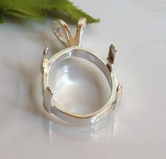 14kt Gold or Sterling Silver Oval Cabochon Pendant Setting