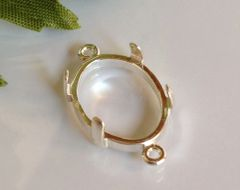 14kt Gold or Sterling Silver Oval Cabochon 2-Ring Dangle Setting (7x5-18x13mm)