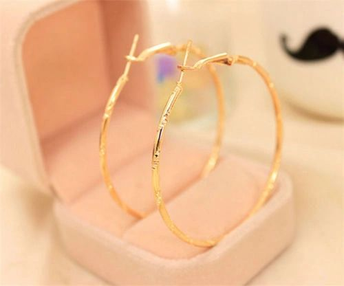 14kt Yellow Gold Filled Patterned (50mm) Hoop Earrings