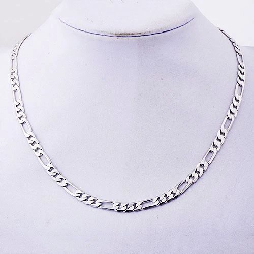 10kt White Gold Filled Heavy Link Chain With Lobster Claw Ring Clasp