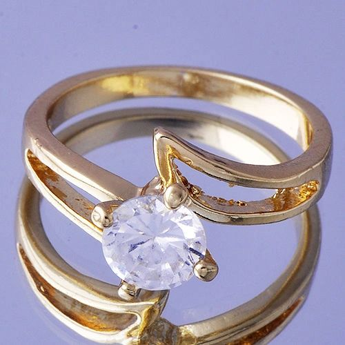 Yellow Gold Filled Crystal Fashion Ring Size 7.5
