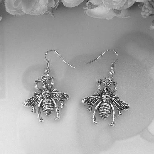 Cute Pair of (Large) Bee Dangle Earrings (Pierced)
