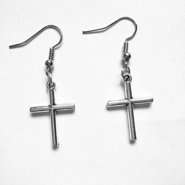Very Nice Pair of Cross Dangle Earrings (Pierced)