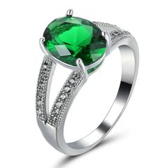 10kt White Gold Filled Bright Green Cubic Zirconia Split Shank Ring Size 5.5