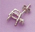 One Sterling Silver Round Single Accented Wire Pre-Notched Earring Setting (6.5-12mm)