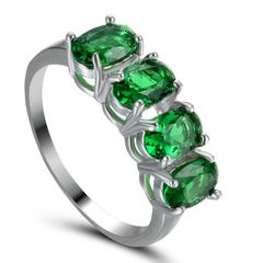 10kt White Gold Filled Bright Emerald Green Cubic Zirconia Ring Size 5.5