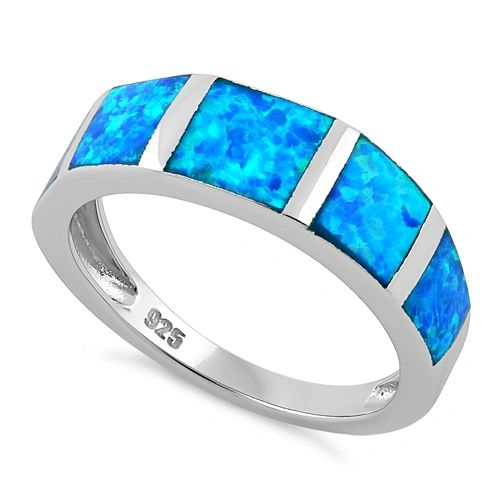 Sterling Silver Lab Created Opal 5-Stone Ring Size 4-8
