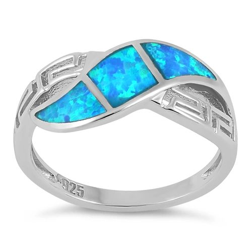 Sterling Silver Lab Created Opal Greek Pattern Ring Size 4-11