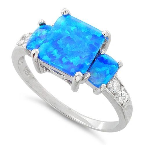 Sterling Silver White or Blue Lab Created Opal Square Ring Size 4-12