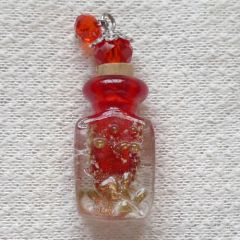 Lovely Murano Lampwork Red With Golden Flecks Glass Perfume Bottle