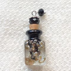 Lovely Murano Lampwork Clear With Golden Flecks Glass Perfume Bottle