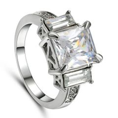 10kt White Gold Filled Bright White Princess Cut Cubic Zirconia Ring Size 6