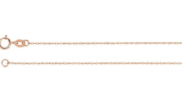 """1mm Wide 14kt White or Yelllow Gold Rope Chain With Spring Ring Clasp: 16"""", 18"""", 20"""" & 24"""""""