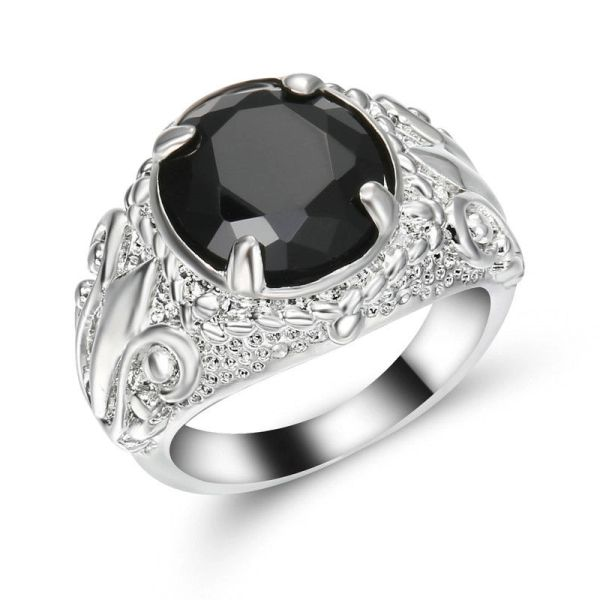 10kt White, Yellow or Black Gold Filled Black Sapphire CZ Fashion Ring Size 6