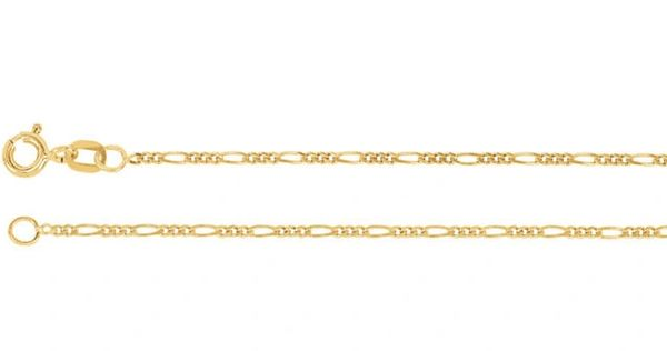 14kt Yellow Gold 1.5mm Solid Figaro Chain With Spring Ring Clasp: 7, 16, 18, 20 or 24 Inches