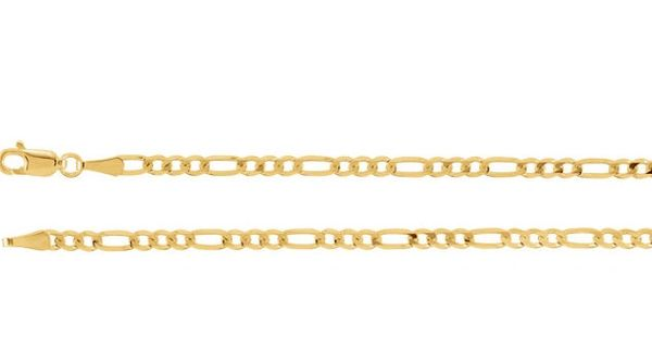 """14kt Yellow Gold 3mm Solid Figaro Chain With Lobster Claw Clasp: 1"""", 7"""", 8"""", 16"""", 18"""", 20"""" & 24"""""""