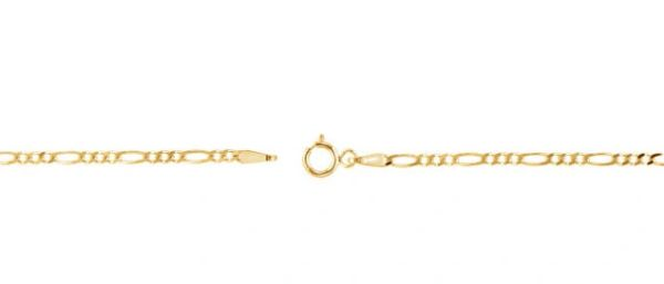 14kt Yellow Gold 2mm Solid Figaro Chain With Spring Ring Clasp: 7, 16, 18, 20 or 24 Inches