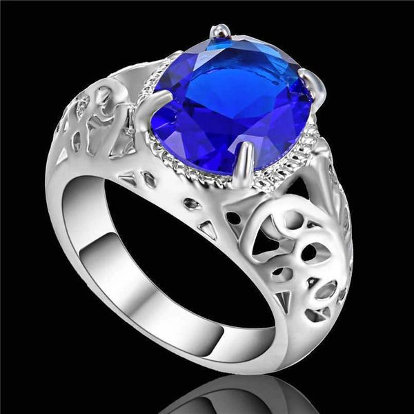 10kt White, Yellow or Black Gold Filled Sapphire Blue Sapphire CZ Fashion Ring Size 9
