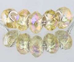 5 Pieces Silver Plated Murano Lampwork Clear Crystal Bead Collection