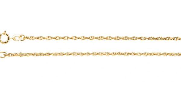 1.5mm Wide Gold Rope Chain With Spring Ring Clasp: 7, 16, 18, 20 or 24 Inches