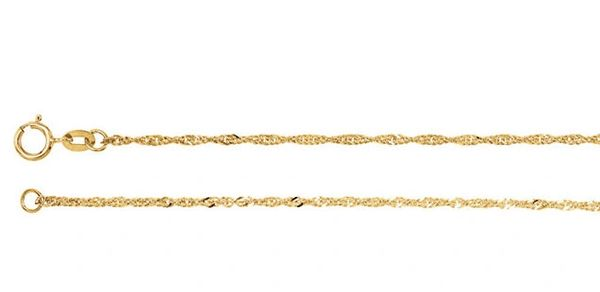 "1.25mm Wide 14kt Yellow Gold Singapore Chain With Spring Ring Clasp: 7"", 16"", 18"", 20"" & 24"""