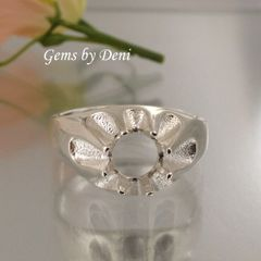 8-10mm Round Sterling Silver Men's Pre-Notched Gypsy Style Ring Setting Size 7-14