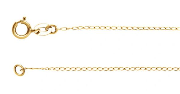 """14kt White or Yellow Gold 1mm Curb Chain With Spring Ring Clasp: 1"""", 7"""", 8"""", 16"""", 18"""", 20"""" & 24"""" Inches"""