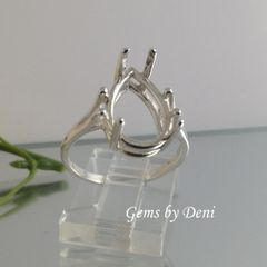 7x5-10x7mm Sterling Silver Pear Solitaire Style Pre-Notched Ring Setting Size 3-10