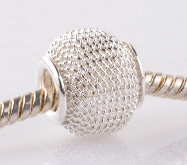 5 Pieces Gorgeous Gauze Big Hole Silver Plated Spacer Beads