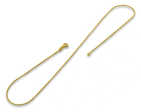 "14kt White or Yellow Gold 1mm Box Chain With Sprng Ring Clasp: 1"", 7"", 8"", 16"", 18"", 20"" & 24"""