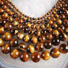 Genuine Yellow Tiger Eye Round Loose Beads 4-16mm