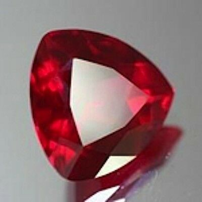 One Gorgeous Trillion Faceted Bright Red Lab Created Ruby (3x3mm-13x13mm