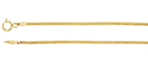 "1.5mm Yellow Gold Flexible Herringbone Chain With Sprng Ring Clasp: 1"", 7"", 8"", 16"", 18"", 20"" & 24"""