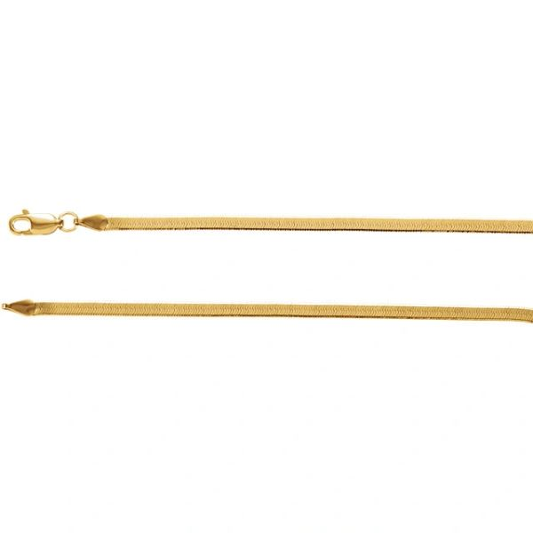 """3mm Yellow Gold Flexible Herringbone Chain With Lobster Claw Clasp: 7"""", 16"""", 18"""", 20"""" & 24"""""""